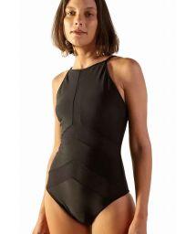 Black bi-material high-neck one-piece swimsuit - MAIO JUMP PRETO