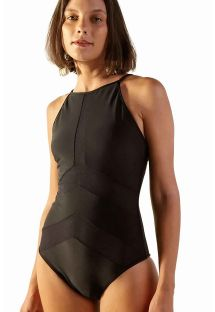 Black bi-material high-neck one-piece swimsuit - MAIO JUMP PRETO