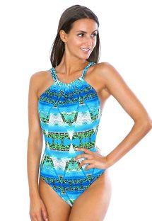 皺褶肩帶熱帶風情藍色連體式泳裝 - MAIO MIRAGE