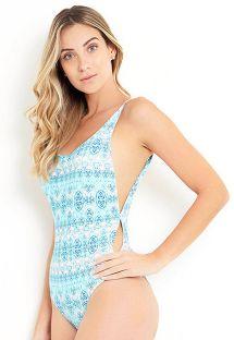 White & blue one-piece swimsuit - MAIO PARAISO