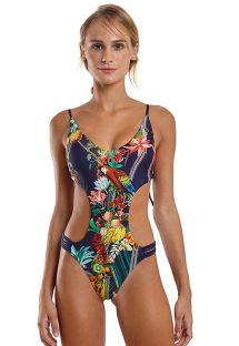 Tropical multicolored Brazilian trikini with strappy detail - MAIO POP IQUITOS