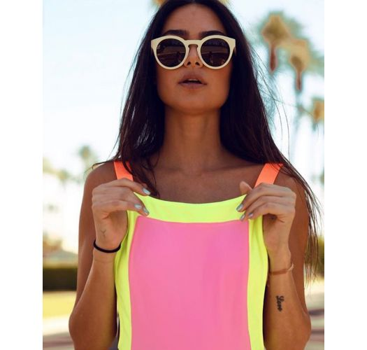 Fluorescent three-coloured one-piece swimsuit with low-cut sides - MAIO PRISCILA