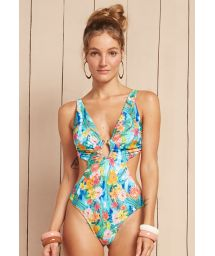 Pastel floral print trikini with plunging neckline and jewel accent at the centre - MAIO RESORT