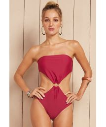 Dark pink bandeau trikini with gold ring detail - MAIO ROMANTICO