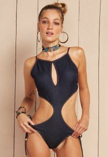 Denim trikini with stitching and cut-out details - MAIO SAMBA