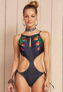 Denim parrot print Brazilian trikini - MAIO SAMBA ARARA