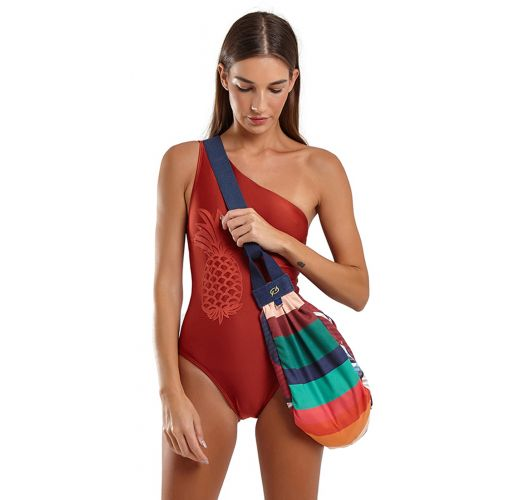 Asymmetric red one-piece swimsuit with laser cut pineapple - MAIO SARDENHA ABACAXI VERMELHO