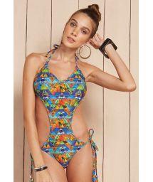 Geometric print trikini with fringed tassels - MAIO TAHITY