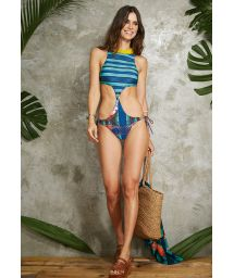 Reversible blue patterned trikini swimming costume - MAIO UNIQUE POTI