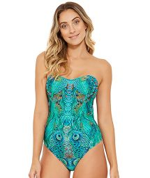 Bandeau 1 piece swimsuit - blue peacock - MAKE FANTASTIC