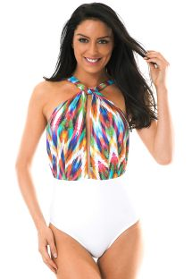 White one-piece swimsuit with high neckline and print - MARAMBAIA LINDO