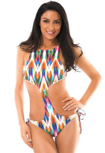 Trikini estampado multicolor con escote subido - MARAMBAIA UNIQUE