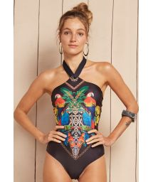 Black one-piece swimsuit with tropical print detail - MENINA BAIANA