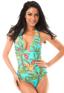 Tropical one-piece swimsuit with plunging neckline - MUSA CARIBE