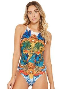 High-neck one-piece swimsuit in colorful print - NADADOR HEMISFERIO