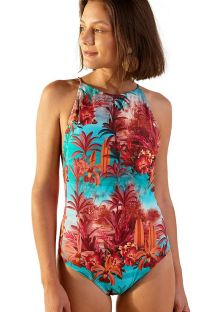 High-neck one-piece swimsuit with exotic print - NADADOR VANUATU