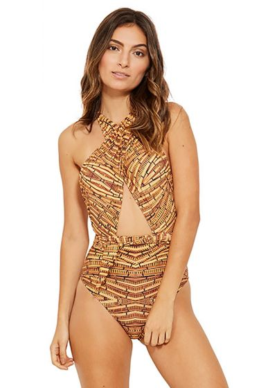 One-piece swimsuit with cut-outs and brown print - ONDA CAICARA
