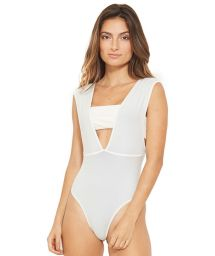 1-piece reversible swimsuit white / blue with a top - PALACIO BRANCO AZUL