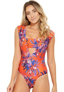 Floral plunging swimsuit in orange and blue - PALÁCIO NOTURNELLA