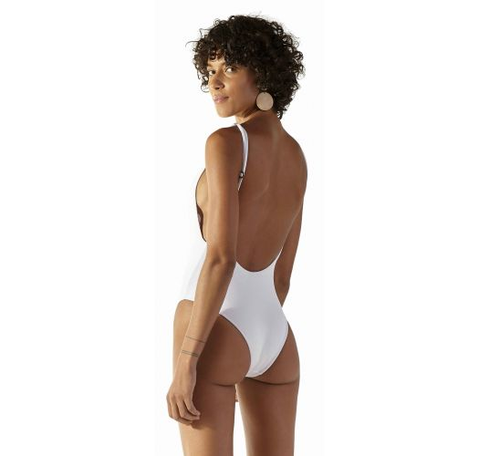 White high-leg one-piece swimsuit - PEPE BRANCO