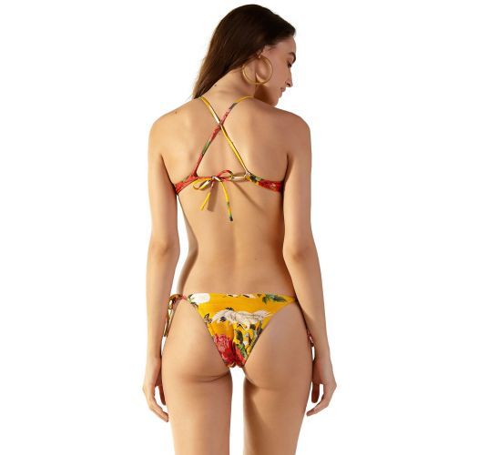 Yellow trikini with flowers and decorative necklace - RECORTE XANGAI