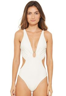 White plunging monokini with side cut outs - RESORT BRANCO PEROLA