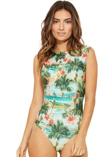 One-piece tank swimsuit in tropical print - RIQUEZA ISLA