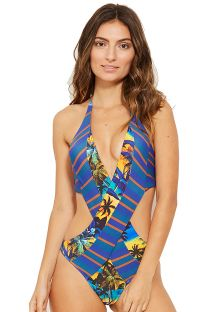 Multi-position colorful monokini with tropical and striped print - SAINT TROPEZ ENTARDECER