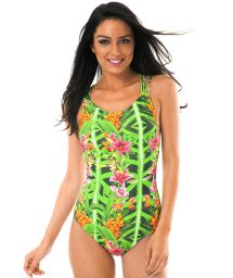 Tropical print one-piece swimsuit with multi-strap back - TAPAJO CAPRI