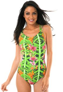 Tropical print one-piece swimsuit with multi-strap back - TAPAJO CAPRI