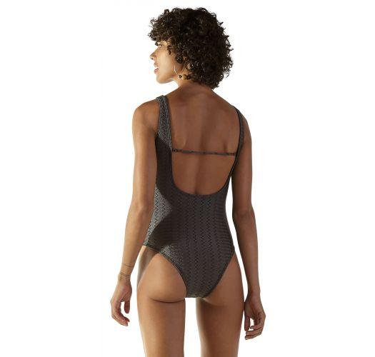 Textured grey Brazilian one-piece swimsuit - TEXTURA ZAZ CINZA PRETO