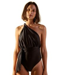 Multi-way reversible black one-piece swimsuit - THAMI PRETO
