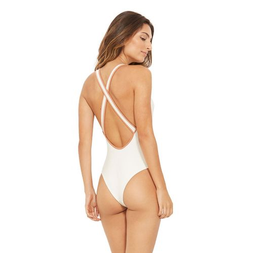 White swimsuit crossed back with contracting borders - TRIP BRANCO PEROLA