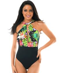 High neckline one-piece swimsuit tropical/black - TROPICALI LINDO