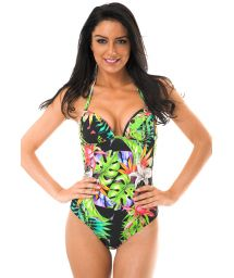 Padded one-piece swimsuit tropical print - TROPICALI MAIO LOTUS
