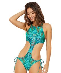 Deeply side cut out monokini in peacock print - UNIQUE FANTASTIC