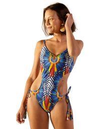 Tropical colorful Brazilian monokini with pompoms - WAVE COCARDE