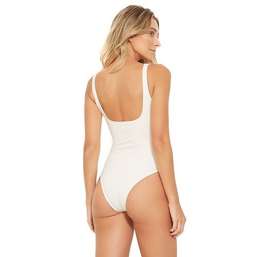 White swimsuit with zipper and black side blocks - ZIPER BRANCO PEROLA