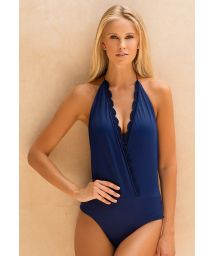Navy blue crochet wrap-over style one-piece swimsuit - ALBY