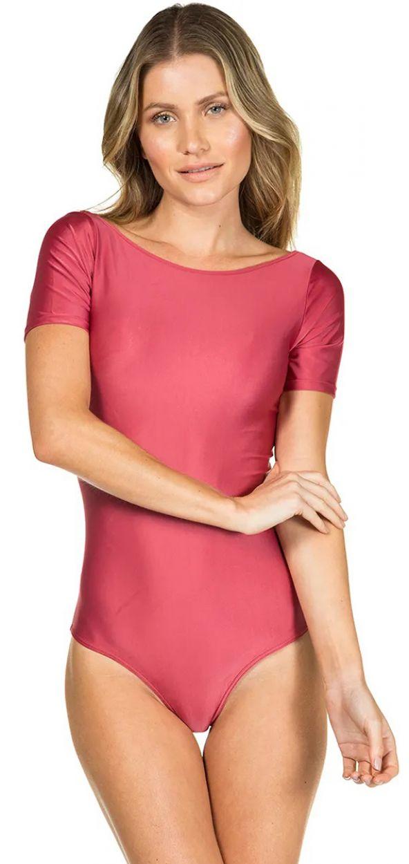 Rosa body med korta ärmar - BODY LISO VERMELHO