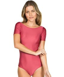 Pink body with short sleeves - BODY LISO VERMELHO