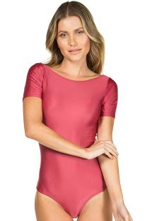 Pink body with short sleeves - BODY LISO VERMELHO