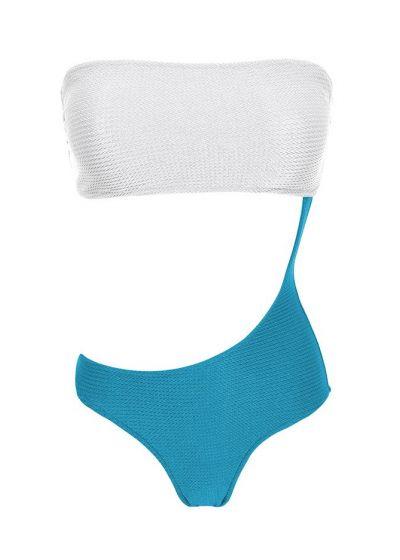 Asymmetric one-piece textured swimsute white / blue - BODY COLOR WHITE BLUE