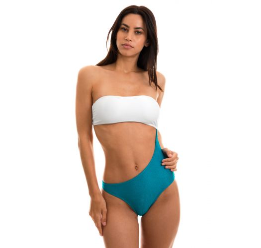 Asymmetric one-piece textured swimsute white / blue - BODY COLOR WHITE BLUE