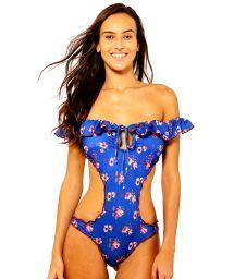 Blue floral trikini Bardot neckline with frill - BLUE LIBERTY