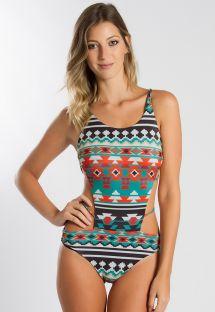Printed trikini, crossed and interwoven strappy back - DEBY MONOKINI