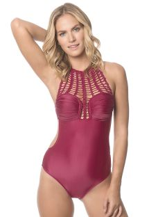 Wine-colored macramé one-piece bathing suit - CHERRY GLAM