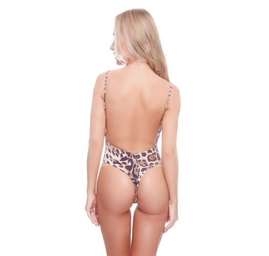 Luxurious brown leopard string one-piece swimsuit - CHRISTY OP CHEETAH BROWNIE