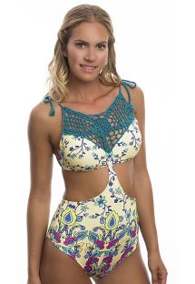 Patterned one-piece swimsuit with green macramé neckline - COSMO OP BLOSSOM