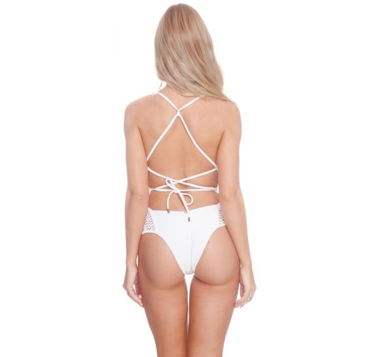 Luxurious white one-piece swimsuit white openwork back - CROCHET OP WHITE